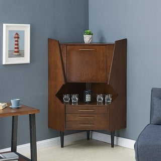Link to Carson Carrington Haramsoya Dark Tobacco Geometric Corner Bar Cabinet Similar Items in Dining Room & Bar Furniture