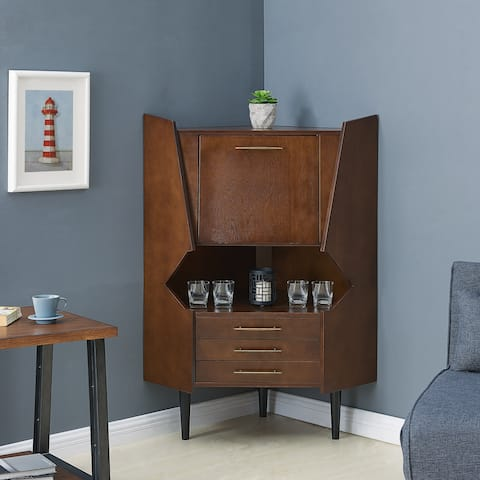 Carson Carrington Haramsoya Dark Tobacco Corner Bar Cabinet