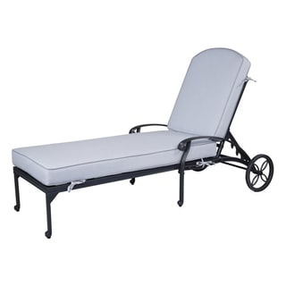Havenside Home Saybrook Aluminum Single Chaise Lounger with Cushion (Cast Silver)