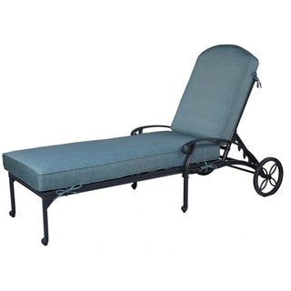Havenside Home Saybrook Aluminum Single Chaise Lounger with Cushion (Green)