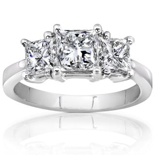 Annello by Kobelli 14k White Gold 2ct TDW Princess Cut Diamond Ring (H-I, I1-I2)