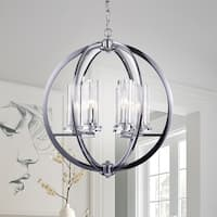 Karthus Chrome 6-Light Pendant with Clear Glass Shade