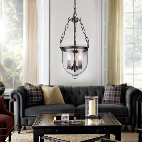 Torsten Black 3-Light Chandelier with Clear Glass Shade
