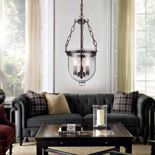 Link to Torsten Black 3-Light Chandelier with Clear Glass Shade Similar Items in As Is