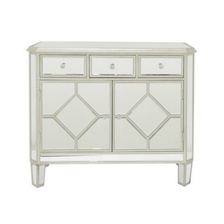 Three Hands Silver Wood Beveled Mirrored Cabinet