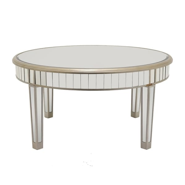 Three Hands Goldtone Wood Mirrored Coffee Table
