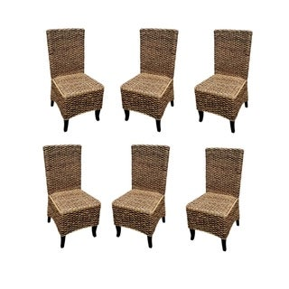 Offex Handmade Seagrass Dining Chair with Solid Mahogany Wood Frame - Set Of 6 Pcs