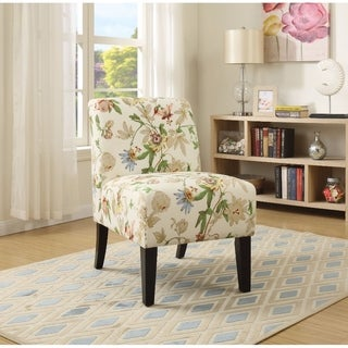 Shop Ollano Floral Fabric Accent Chair Free Shipping