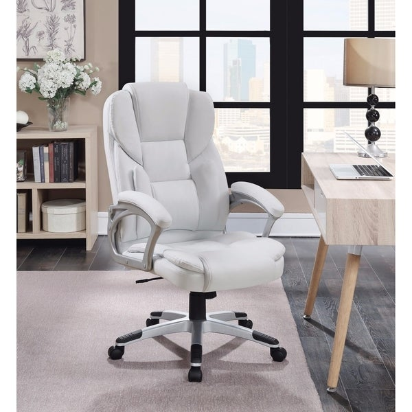 Leather, Contemporary Executive High-Back Chair, White