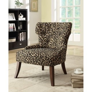 Shop Claribel Leopard Fabric Accent Chair Free Shipping