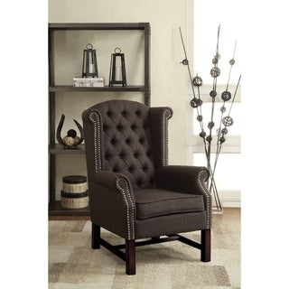 Wooden Accent Chair With Polyester Fabric, Gray