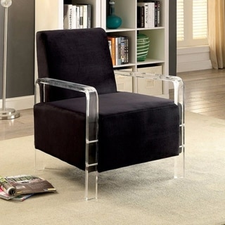 Trendy Contemporary Flannelette Fabric Accent Chair, Black