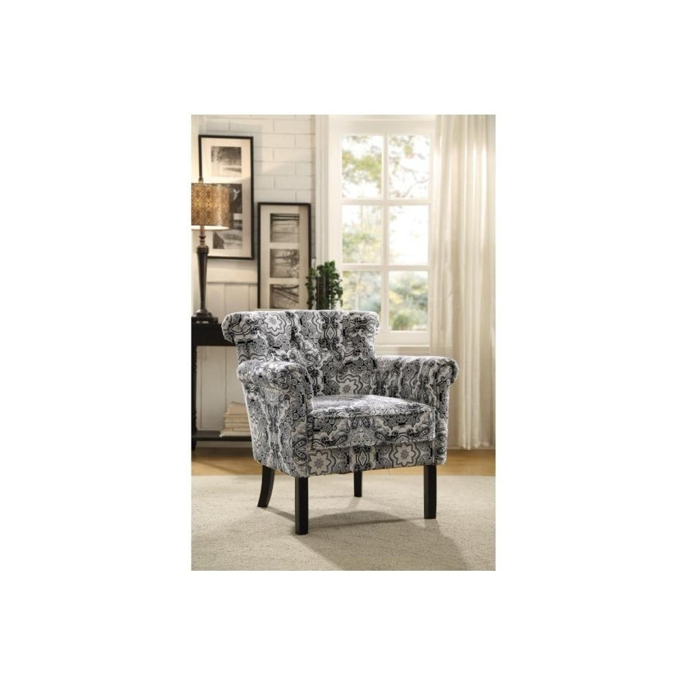 Benzaracottage Paisley Print Fabric Accent Chair In Black And White Dailymail