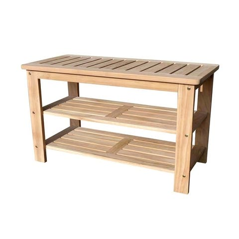 D-Art Collection Teak Wood Outdoor Shoe Bench