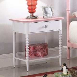 Gorgeous Wood/Metal Nightstand with a Drawer, Pink and White