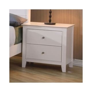 Contemporary Nightstand With 2 Drawers, White