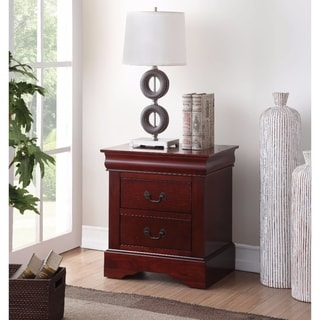 Traditional 2 Drawers wood Nightstand By Louis Philippe III, Brown