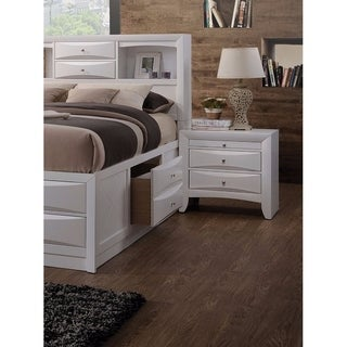 Contemporary 3 Drawer Wood  Nightstand By Ireland, White