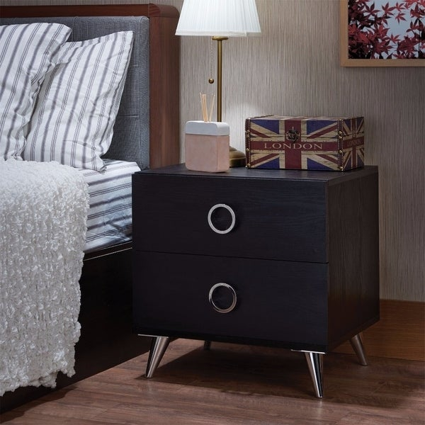 Contemporary Style Wood & Metal Nightstand By Elms, Black & Chrome