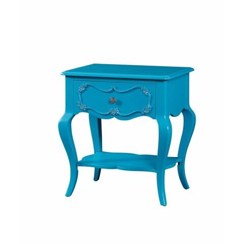 Traditional Style Wood Nightstand by Edalene, Blue