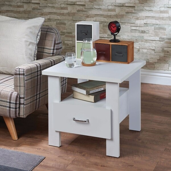 Square One Drawer Wood Nightstand By Delano, White