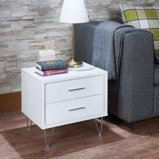 Contemporary 2 Drawers Wood Nightstand By Deoss, White