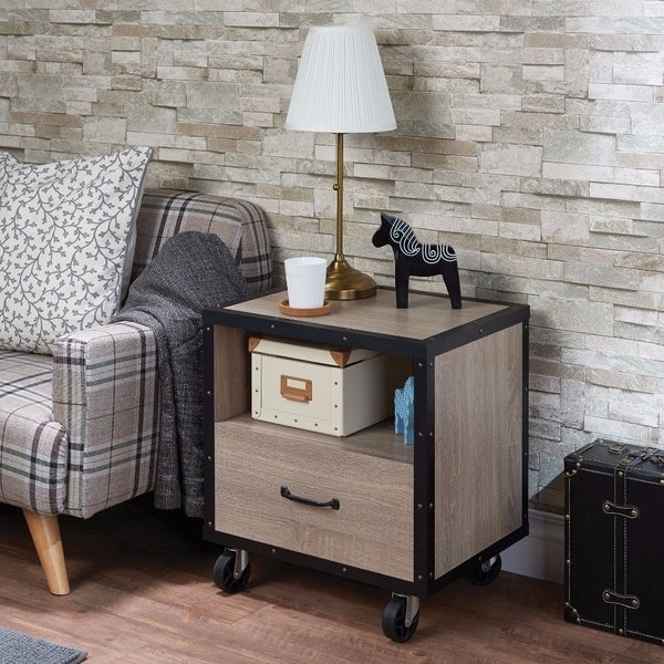 Stylish One Drawer Wood Nightstand By Bemis, Brown & Black