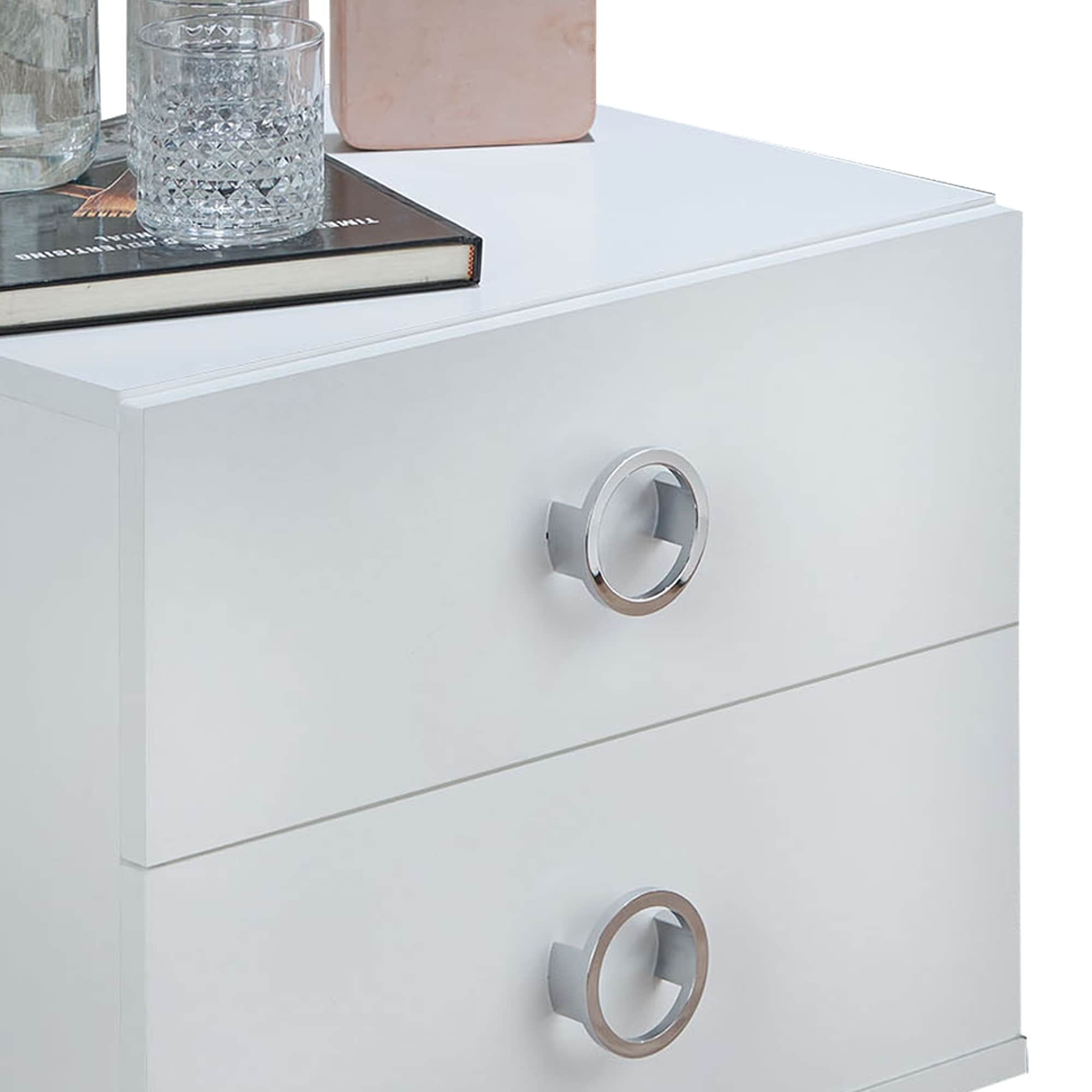Modern Style Wood Metal Nightstand By Elms White Chrome
