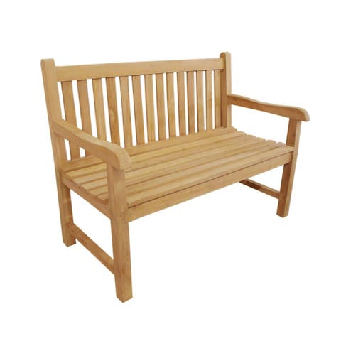 Offex Antique Solid Teak Wood Riverside 2 Seater Outdoor Bench