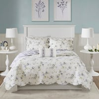 Madison Park Cordelia Ivory/Purple 4 Piece Reversible Coverlet Set