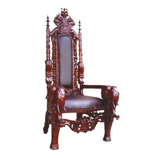 Offex Handcrafted Solid Kiln Dried Mahogany Elephant King Chair
