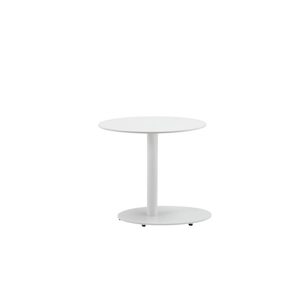 Modern Metal Outdoor Side Table With Oval Top and Base, White