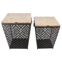 Metal Side Table with Storage, Set of 2, Black
