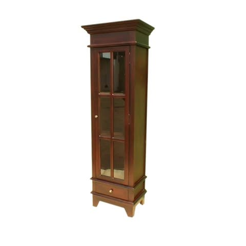 Offex Handcrafted Solid Kiln Dried Mahogany Fruitwood Cabinet with Dark Brown Finish