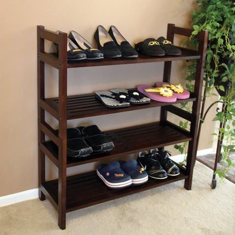 Offex Handcrafted Solid Kiln Dried Mahogany Veranda 4 Tiers Shoes Rack