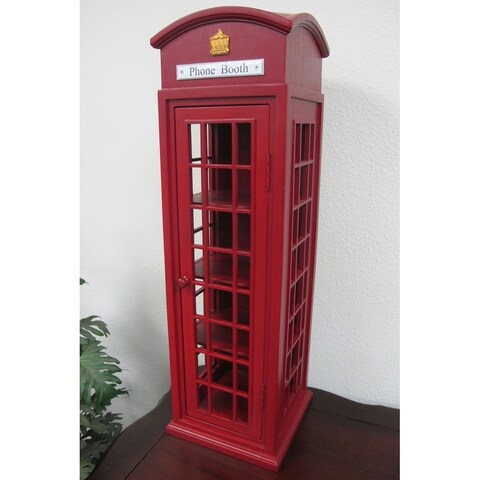 Offex Handmade Solid Mahogany London Mini Telephone Booth Case
