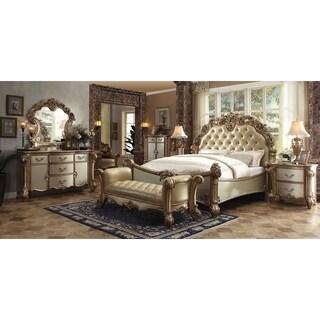 ACME Vendome Eastern King Bed, Bone PU & Gold Patina (1Set/3Ctn)
