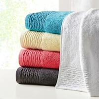 Madison Park Aer Jacquard Wavy Border Zero Twist Cotton Towel Set