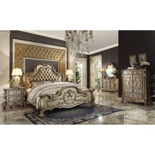 ACME Dresden Queen Bed, Bone PU & Gold Patina (1Set/3Ctn)