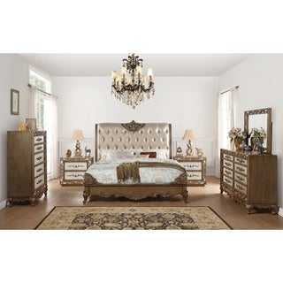 ACME Orianne Eastern King Bed, Champagne PU & Antique Gold (1Set/4Ctn)
