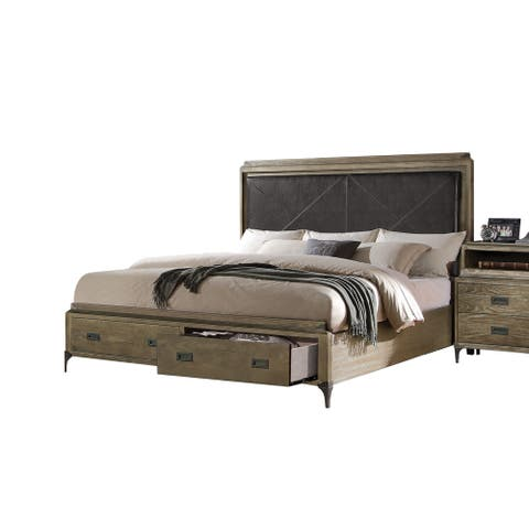 ACME Athouman Eastern King Bed w/Storage PU & Weathered Oak (1Set/3Ctn)