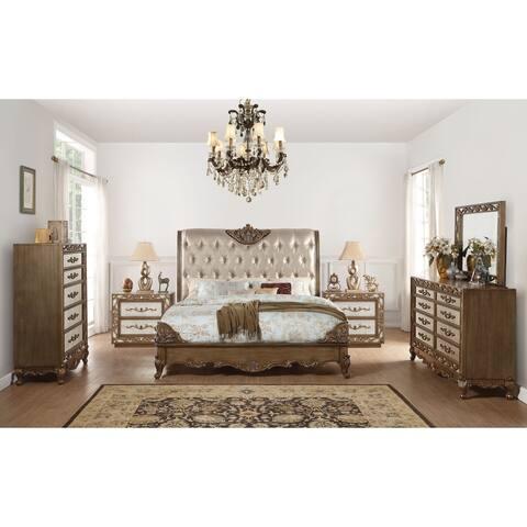 ACME Orianne Queen Bed, Champagne PU & Antique Gold (1Set/4Ctn)