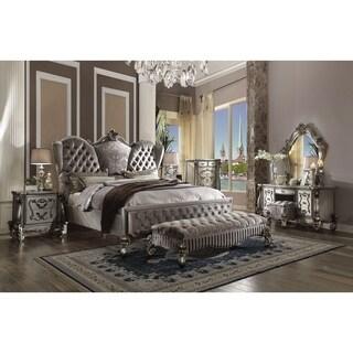 ACME Versailles Queen Bed, Velvet & Antique Platinum (1Set/3Ctn)