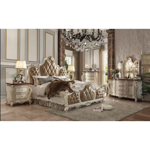 ACME Picardy Queen Bed PU & Antique Pearl (1Set/3Ctn)