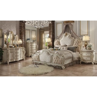 ACME Picardy Eastern King Bed, Fabric & Antique Pearl (1Set/3Ctn)