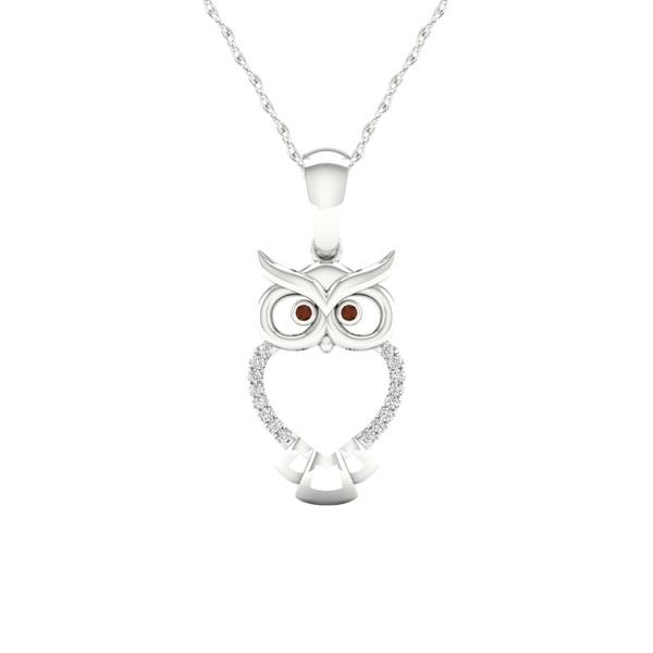 071e1fda5 Shop De Couer S925 Sterling Silver 1/20ct TDW Diamond Owl Necklace ...