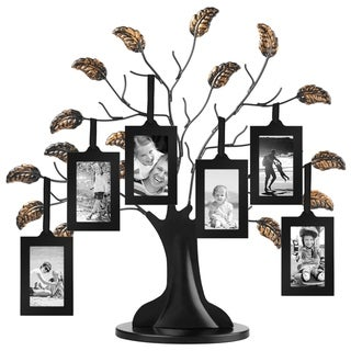 """Americanflat Bronze Family Tree Frame with 6 Hanging Picture Frames Each Sized 2\ x 3\"""" with Adjustable Ribbon Tassels"""""""