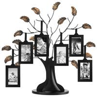 """Bronze Family Tree Frame with 6 Hanging Picture Frames Each Sized 2\ x 3\"""" with Adjustable Ribbon Tassels"""""""