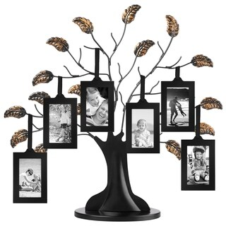 "Bronze Family Tree Frame with 6 Hanging Picture Frames Each Sized 2\ x 3"" with Adjustable Ribbon Tassels"""
