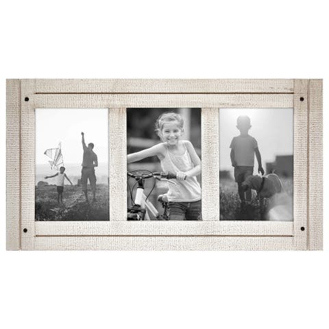 Americanflat 4x6 Aspen White Collage Distressed Wood Frame - Made to Display Three 4x6 Photos